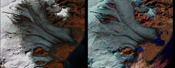 Таяние ледников Исландии, с 1973 по 2000 год.