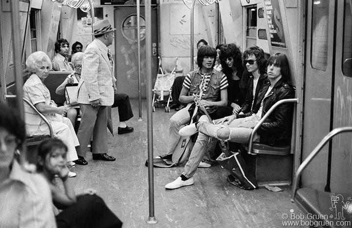 The Ramones on the subway, 1975.